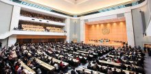 Alisher Shadmanov attends the World Health Assembly